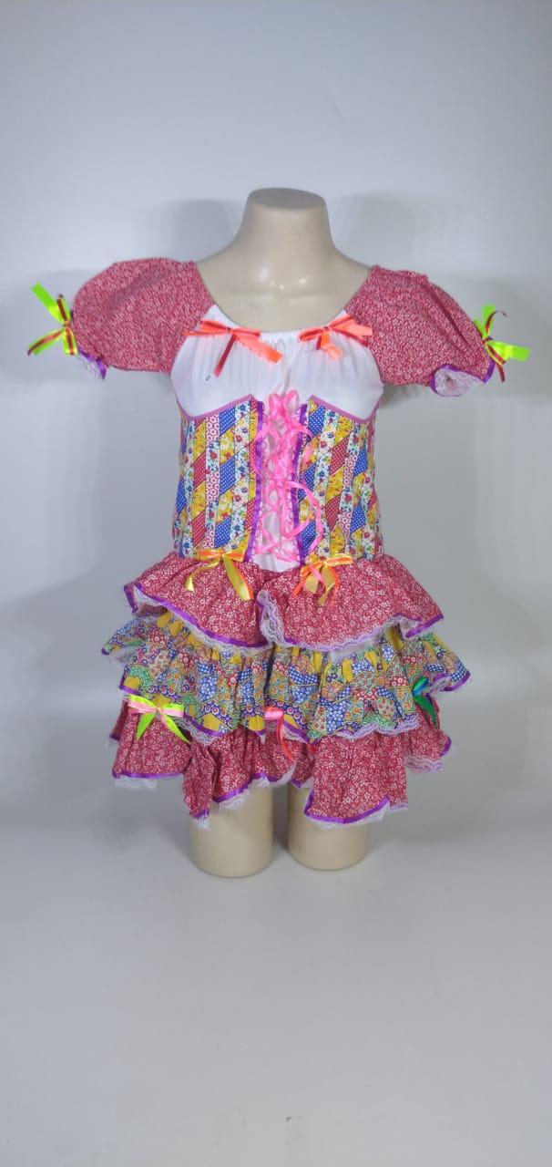 Vestido Caipira Adulta Rosa Fitinhas Tam. G