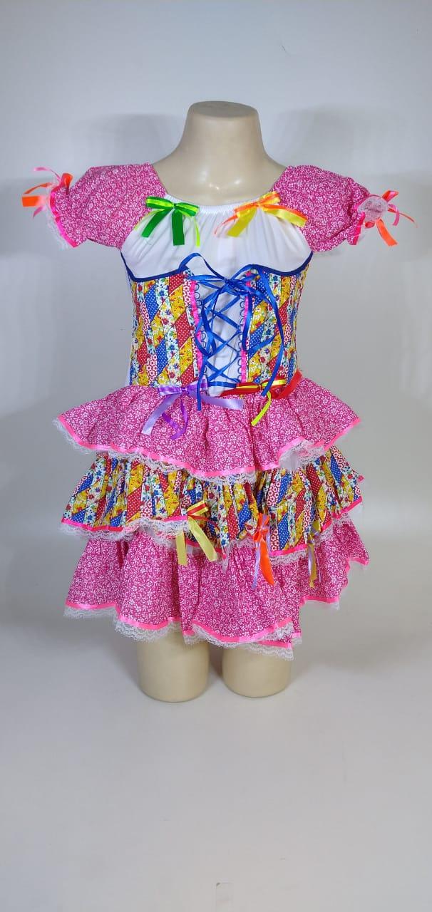 Vestido Caipira Adulta Rosa Fitinhas Tam. M