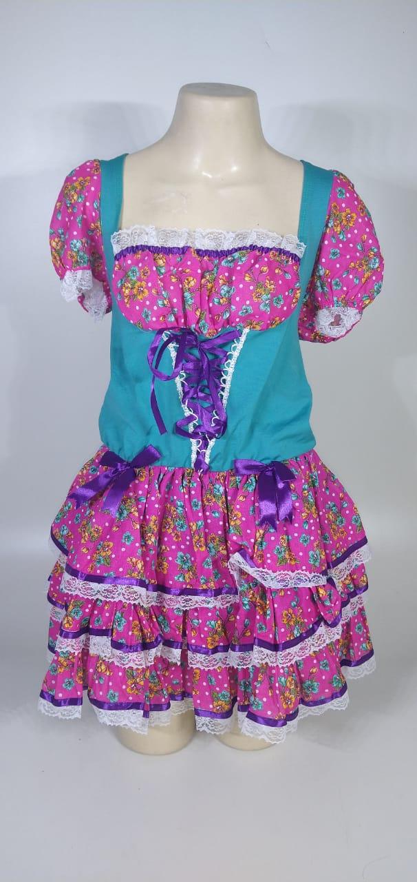 Vestido Caipira Adulta Rosa Flores Tam. G