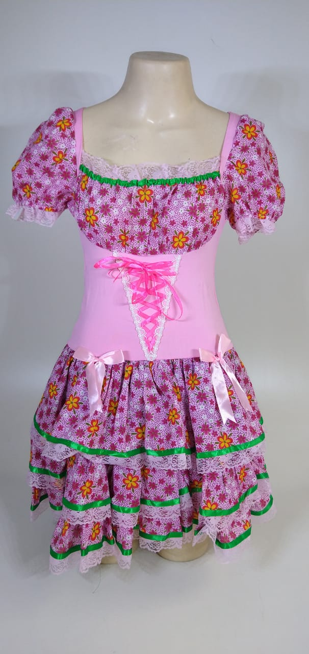 Vestido Caipira Adulta Rosa Flores Tam. P
