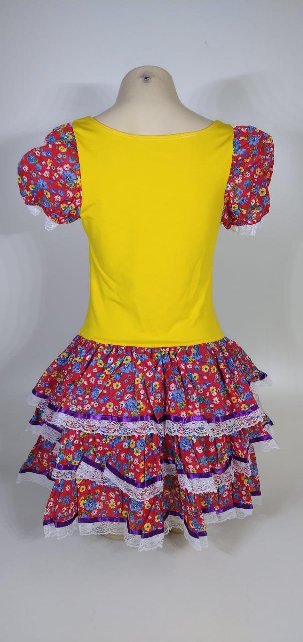 Vestido Caipira Adulta Vermelho Flores Tam. M
