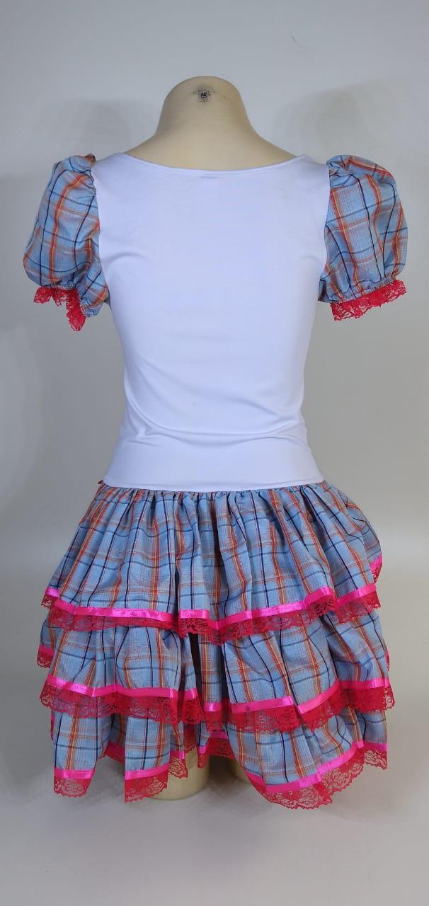 Vestido Caipira Adulta Xadrez Azul Tam. P