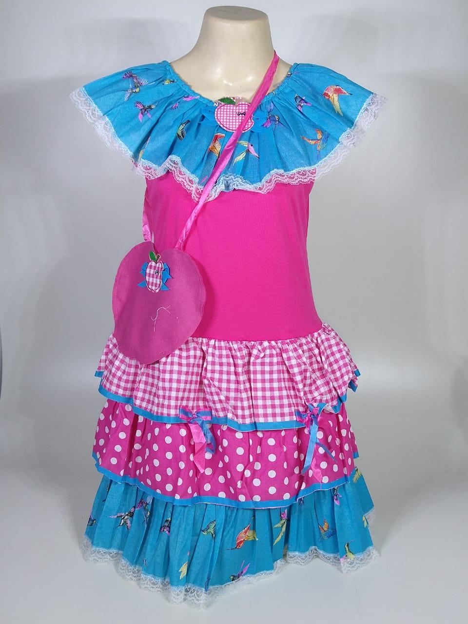 Vestido Caipira Infantil Azul Pássaro Tam. GG