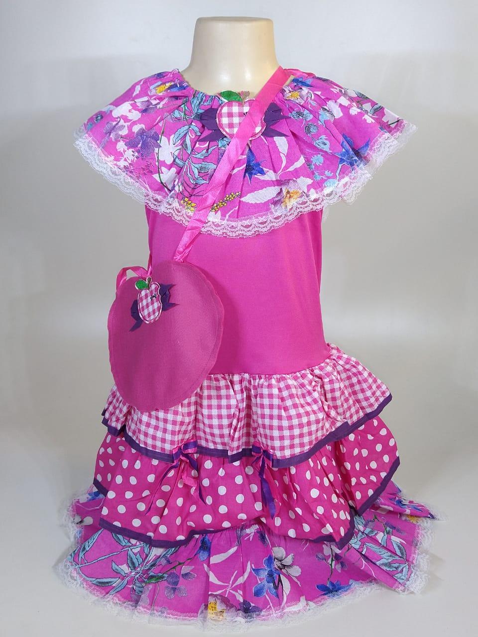 Vestido Caipira Infantil Flores Rosa Tam. M