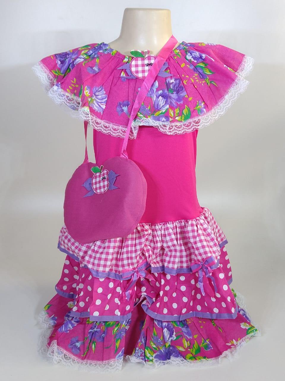 Vestido Caipira Infantil Flores Rosa Tam. P