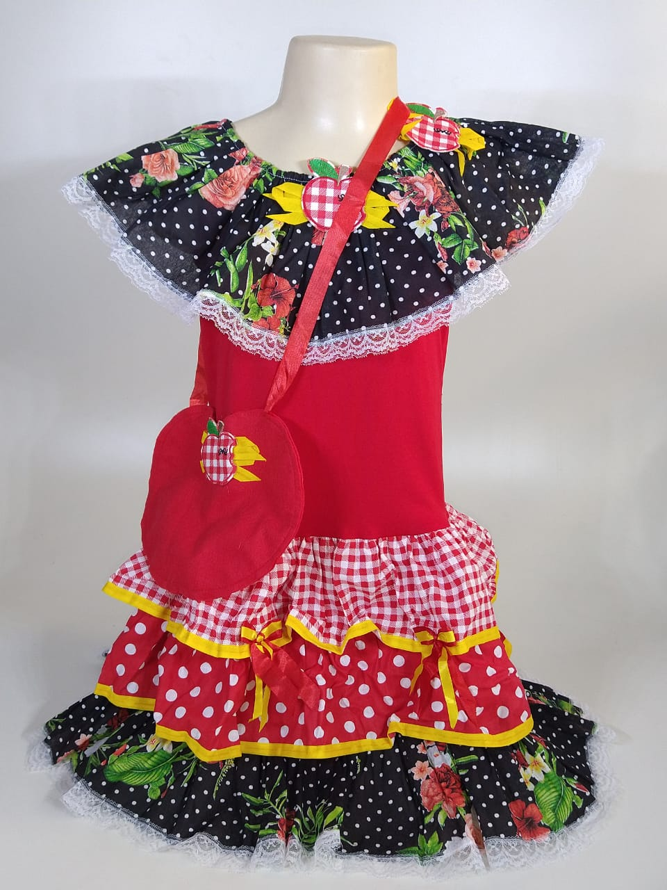 Vestido Caipira Infantil Preto e Vermelho Tam. P