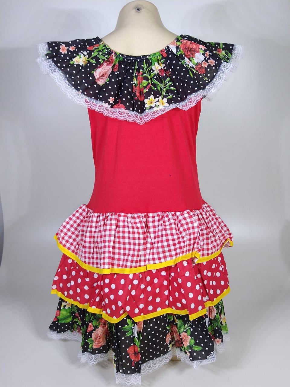 Vestido Caipira Infantil Preto Flores Tam. GG