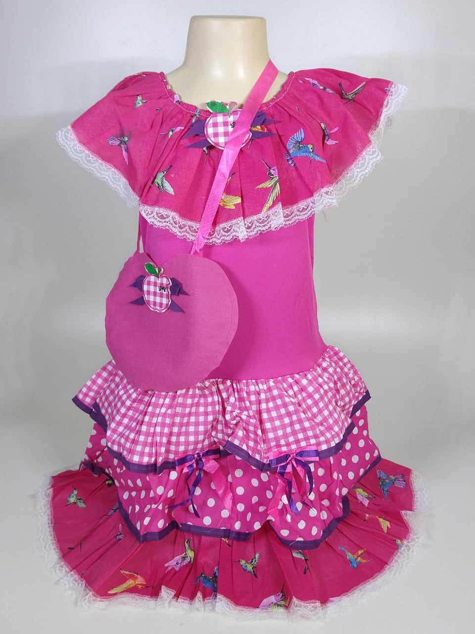 Vestido Caipira Infantil Rosa Beija-Flor Tam. M