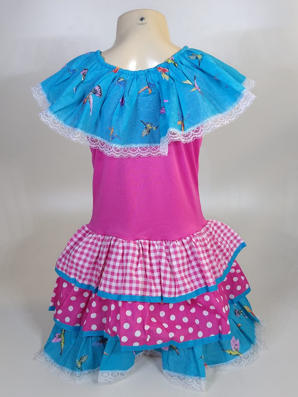 Vestido Caipira Infantil Rosa Beija-Flor Tam. P