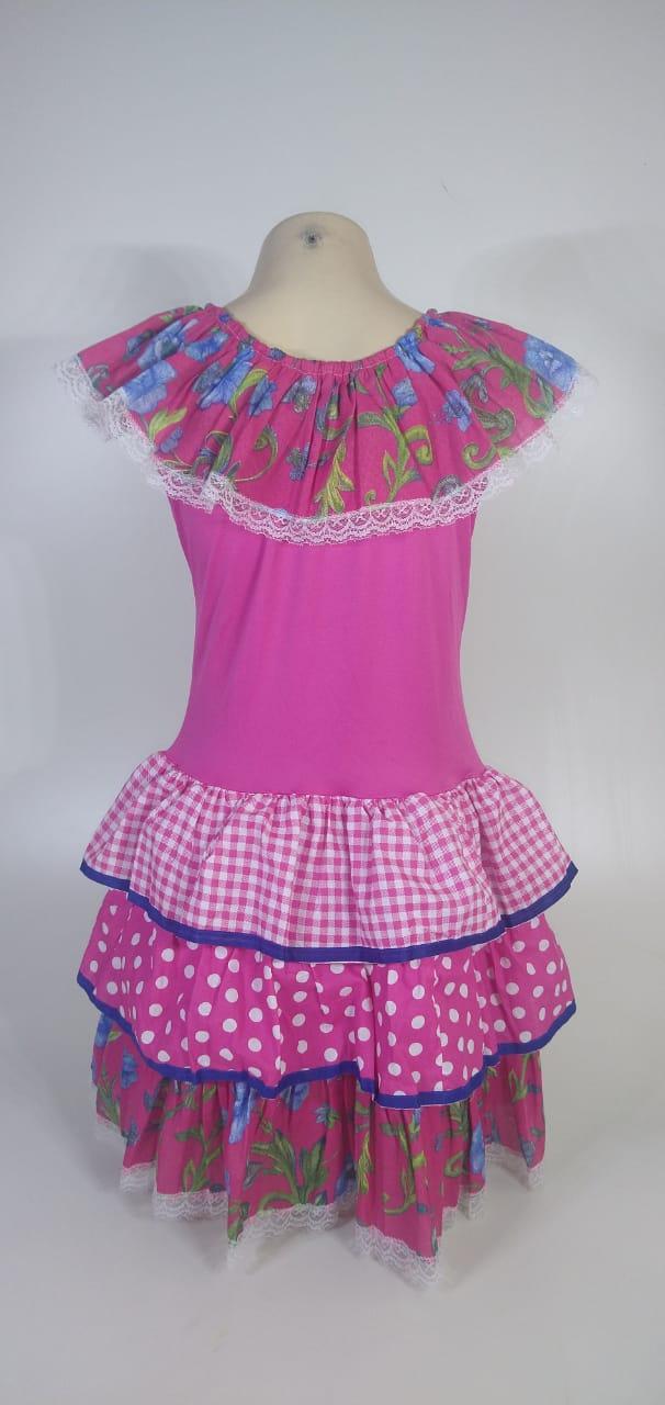 Vestido Caipira Infantil Rosa Flores Tam. GG