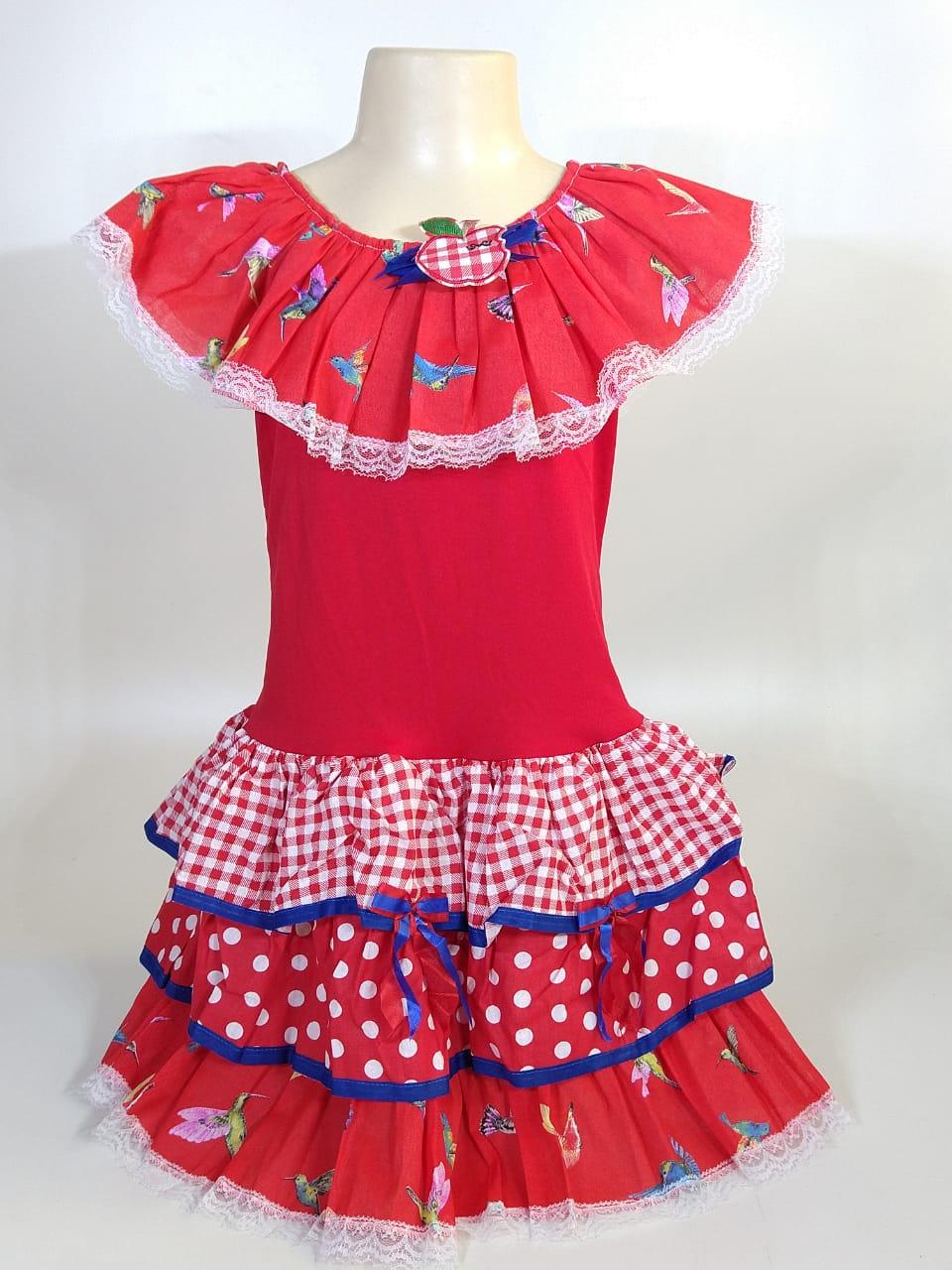 Vestido Caipira Infantil Vermelho Pássaro Tam. P