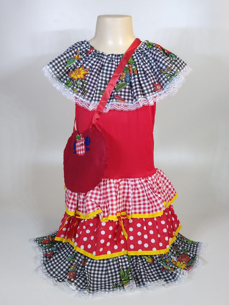 Vestido Caipira Infantil Xadrez Preto Tam. M