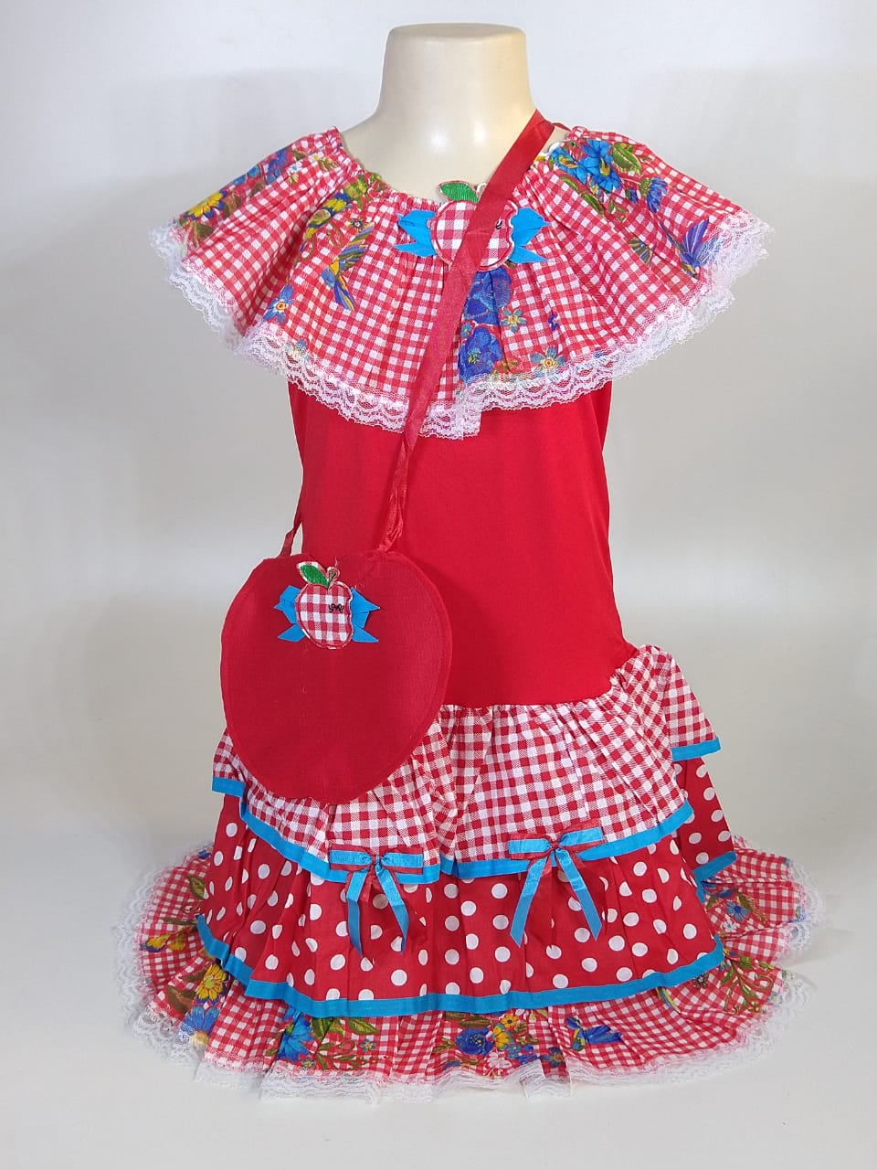Vestido Caipira Infantil Xadrez Vermelho Tam. M
