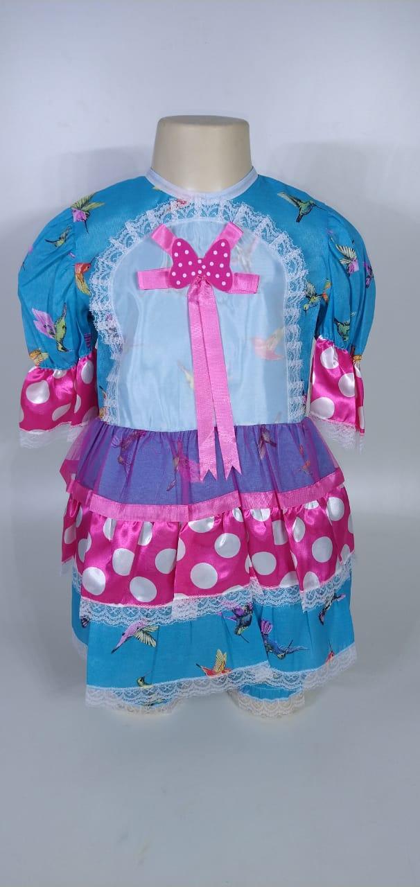 Vestido Junino Infantil Babado Azul Pássaro Tam. 12