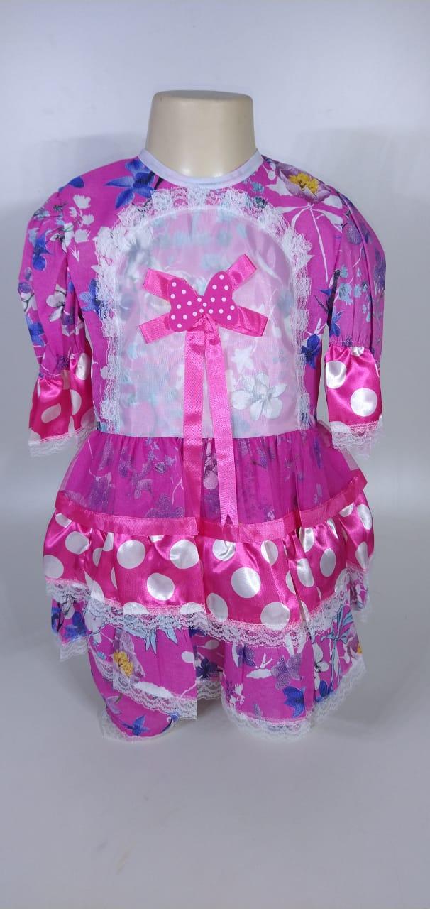 Vestido Junino Infantil Babado Pink Flor Tam. 12