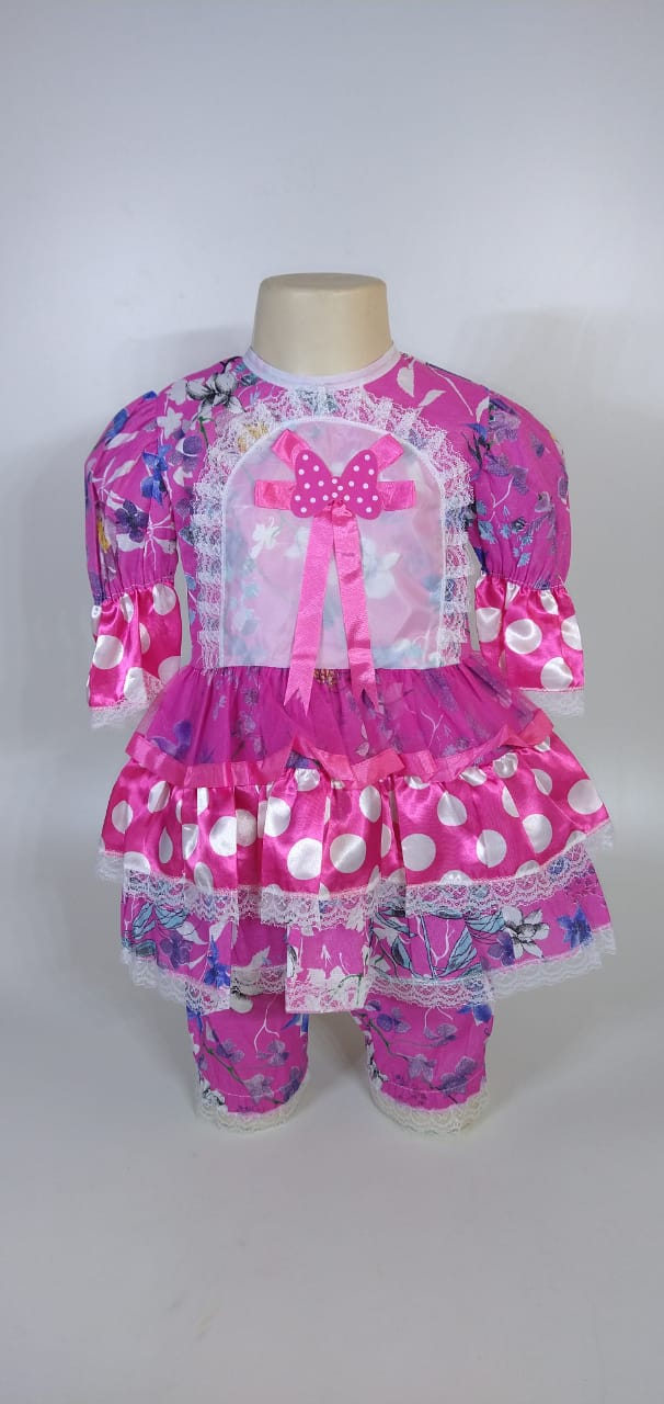 Vestido Junino Infantil Babado Pink Flor Tam. 8