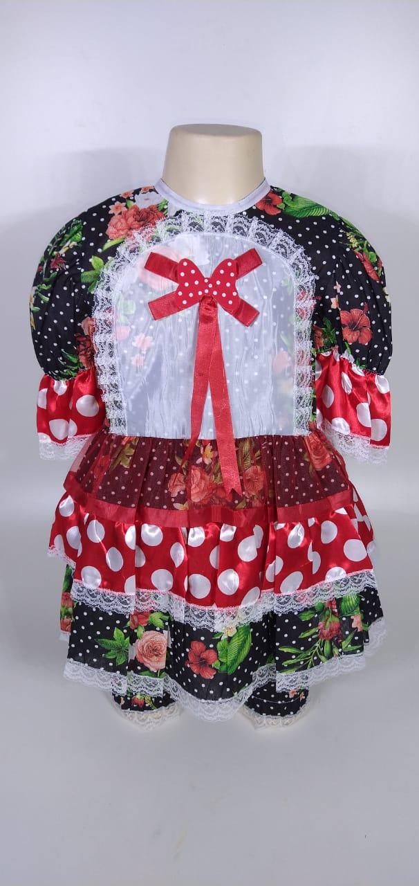 Vestido Junino Infantil Babado Preto Flor Tam. 12
