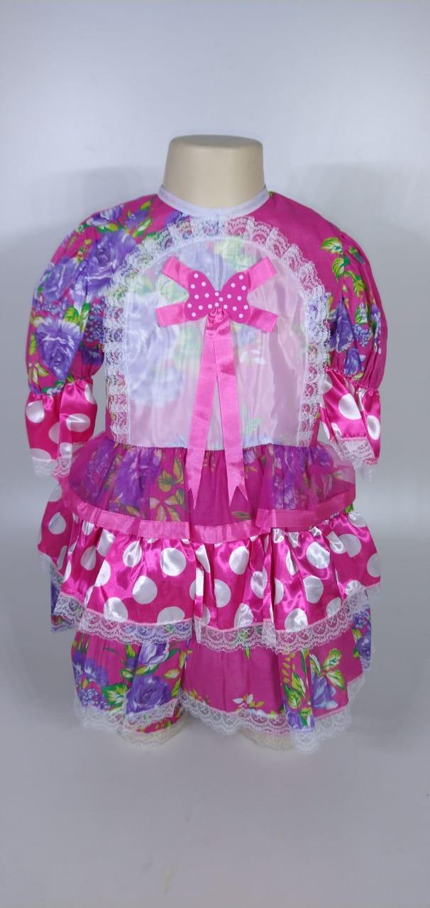 Vestido Junino Infantil Babado Rosa Flor Tam. 12