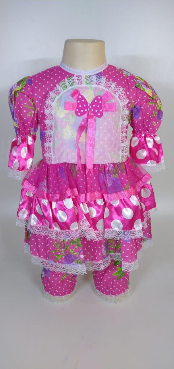 Vestido Junino Infantil Babado Rosa Flor Tam. 8