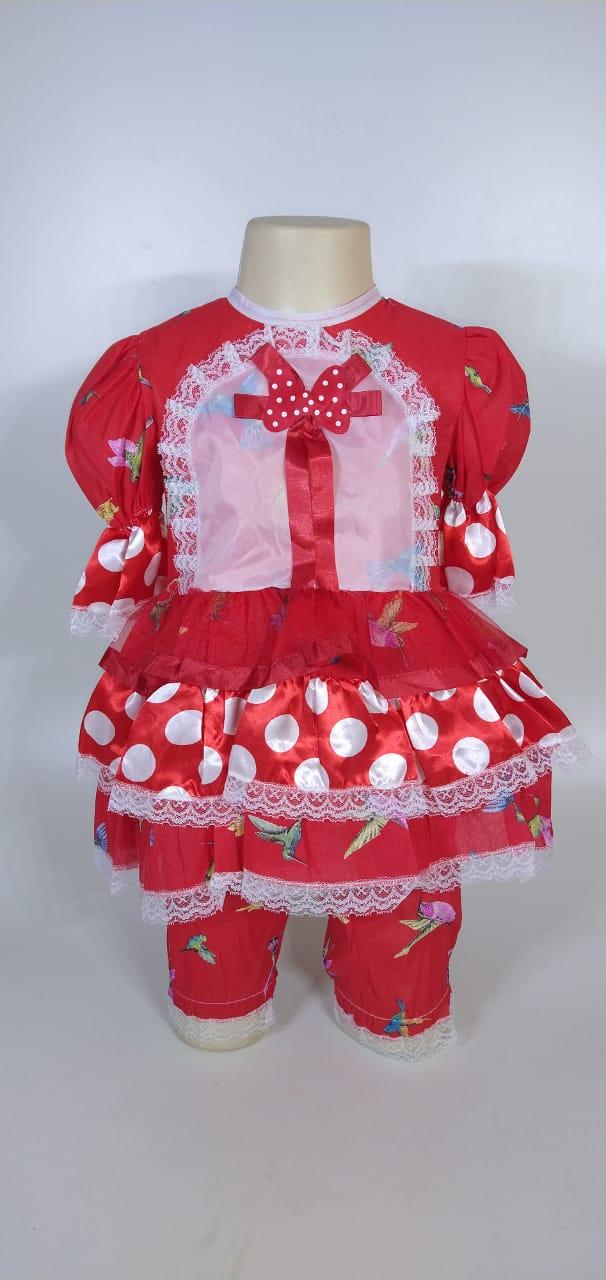 Vestido Junino Infantil Babado Vermelho Bird Tam. 8