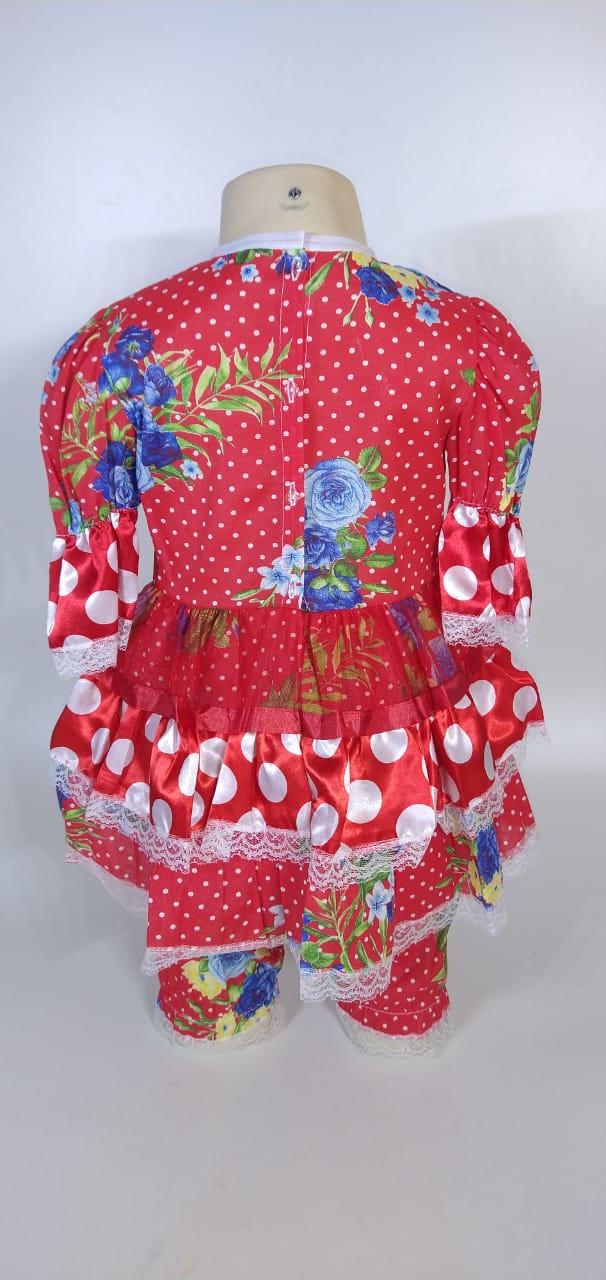 Vestido Junino Infantil Babado Vermelho Bola Tam. 8