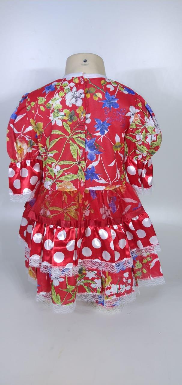 Vestido Junino Infantil Babado Vermelho Flor Tam. 12