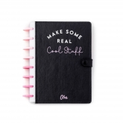 Caderno A5 Premium OBA - Cool stuff black (Pink) - Folhas Meio a meio