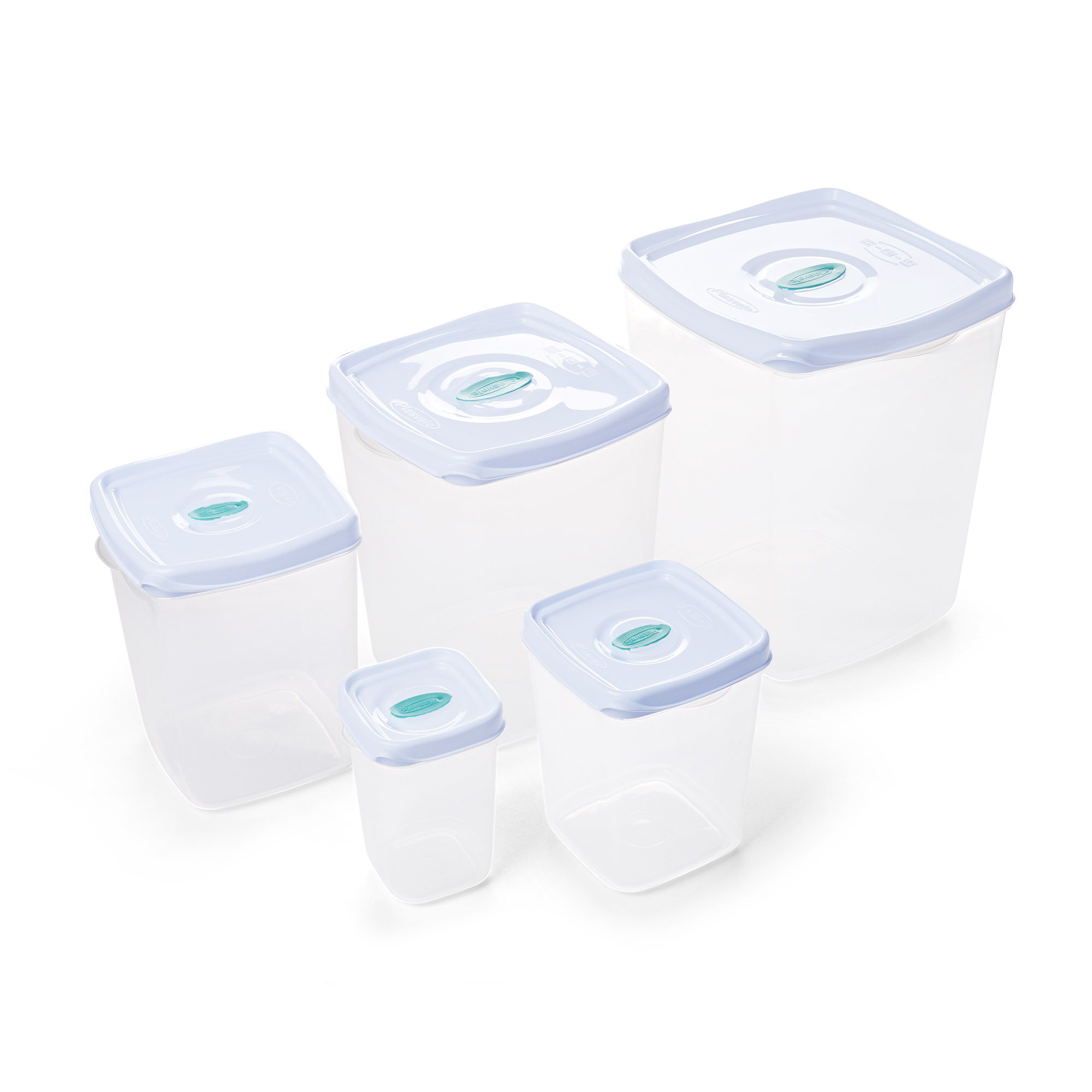 Kit 5 Potes Quadrados - Porta Mantimentos