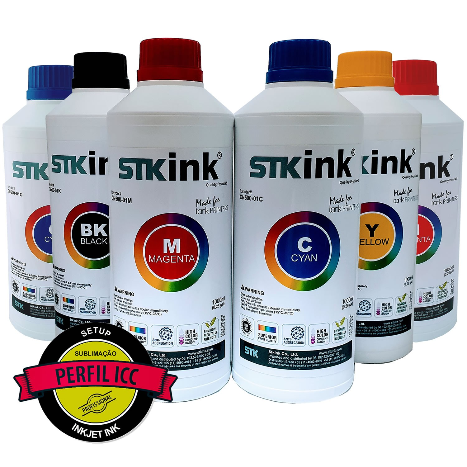 6 x 250ml Tinta Sublimática Digital STK Kit 6 Cores com perfil ICC