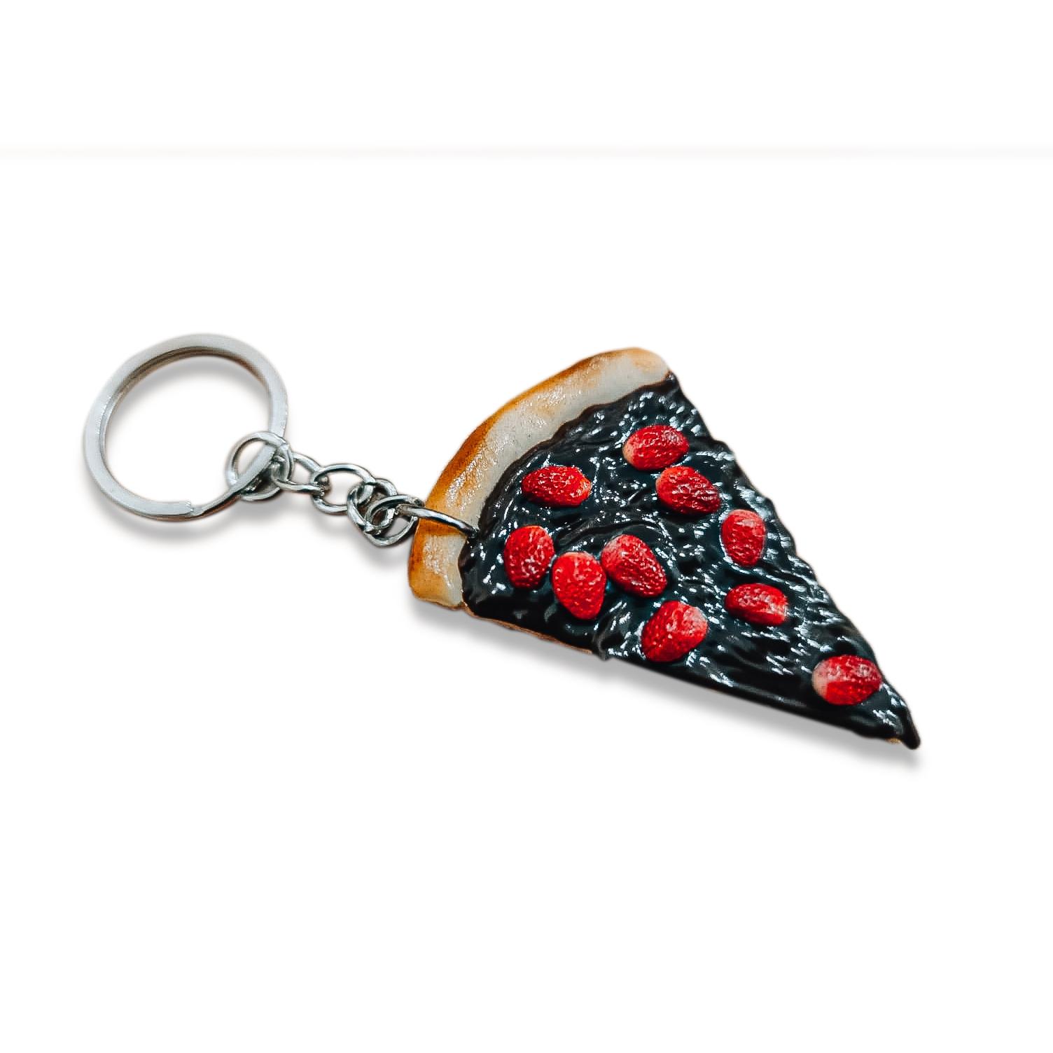 Chaveiro de comida - Pizza de chocolate com morango