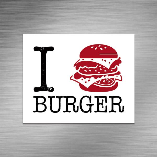 Imã de geladeira - I LOVE BURGER