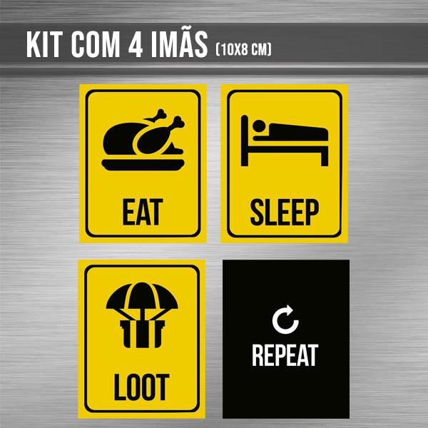 Kit de imãs - EAT SLEEP LOOT REPEAT