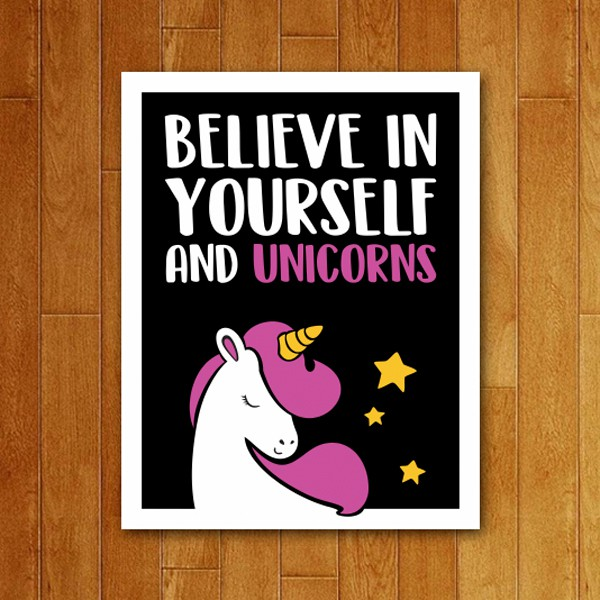 Placa Decorativa Believe in Unicorns