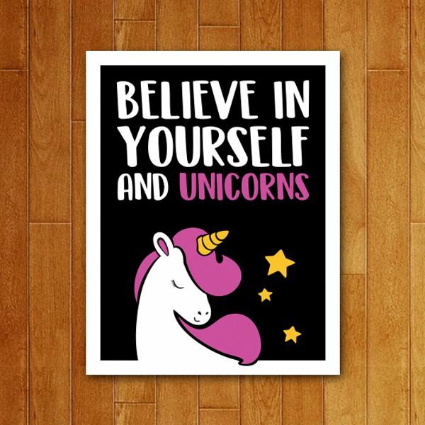 Placa Decorativa Believe in Unicorns