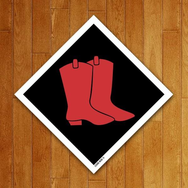 Placa Decorativa Bota Vermelha