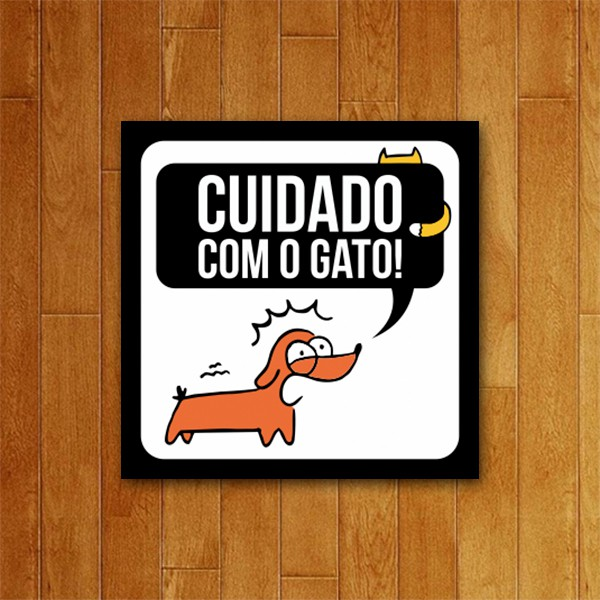 Placa Decorativa Cuidado com o gato