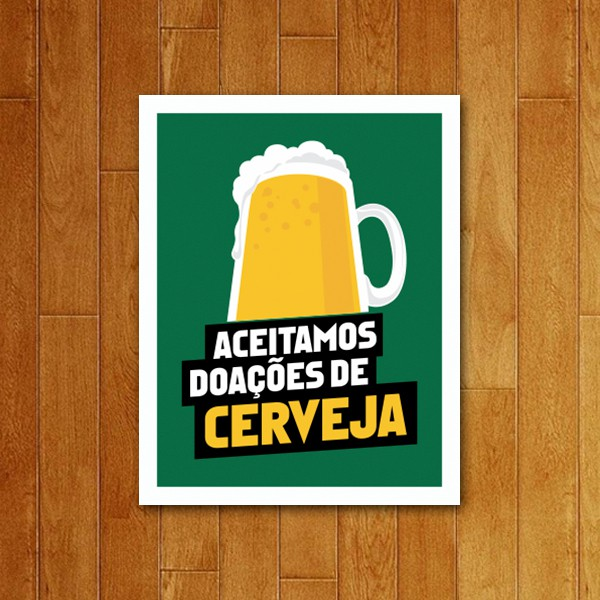 Placa Decorativa Doações de Cerveja