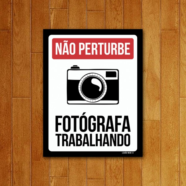 Placa Decorativa Fotógrafa Trabalhando