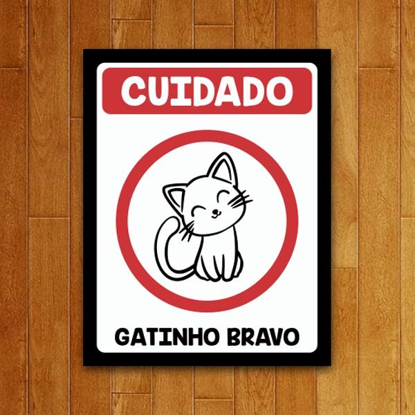 Placa Decorativa Gatinho Bravo (v2)