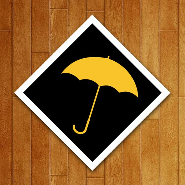Placa Decorativa Guarda-chuva Amarelo