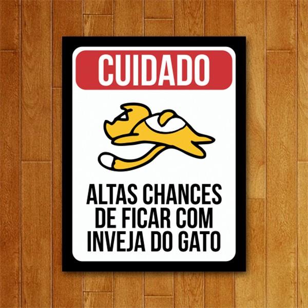 Placa Decorativa Inveja do Gato
