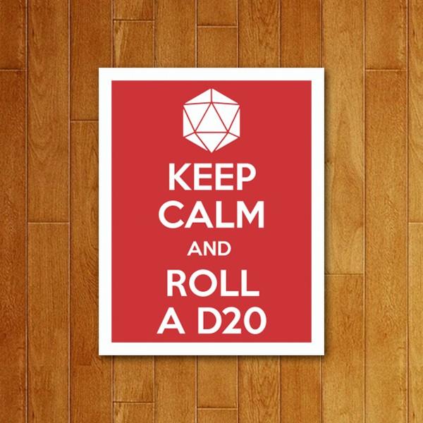 Placa Decorativa Keep Calm D20