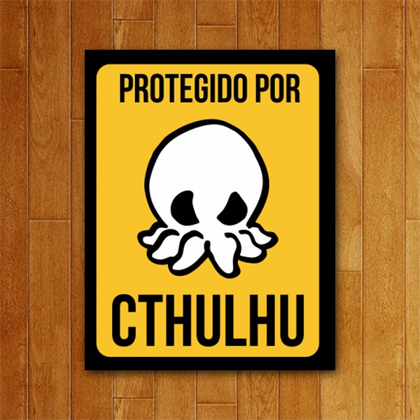 Placa Decorativa Protegido por Cthulhu