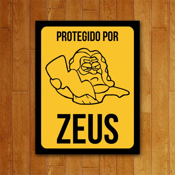 Placa Decorativa Protegido por Zeus