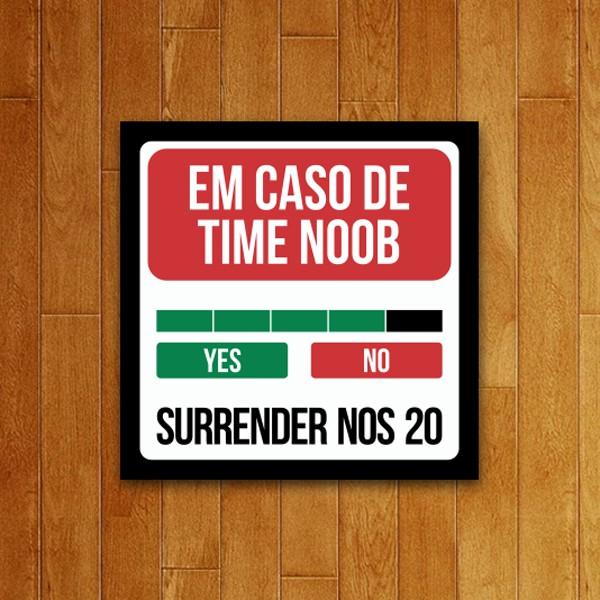 Placa Decorativa Time Noob