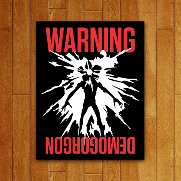 Placa Decorativa Warning Demogorgon