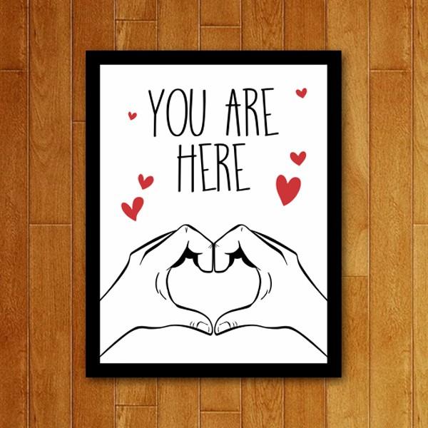 Placa Decorativa You are here coração
