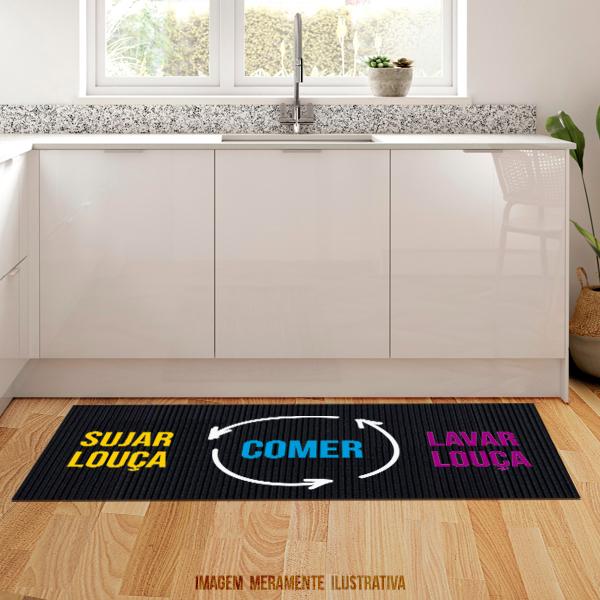 Tapete de cozinha - Comer, sujar, lavar