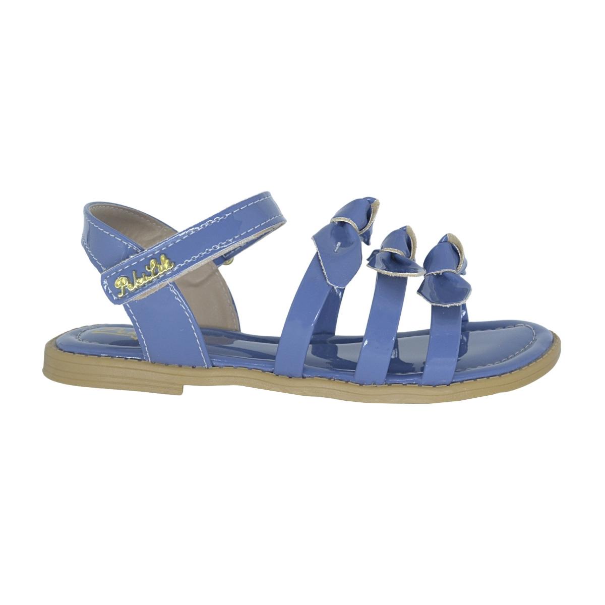 Sandalia Infantil três laços azul
