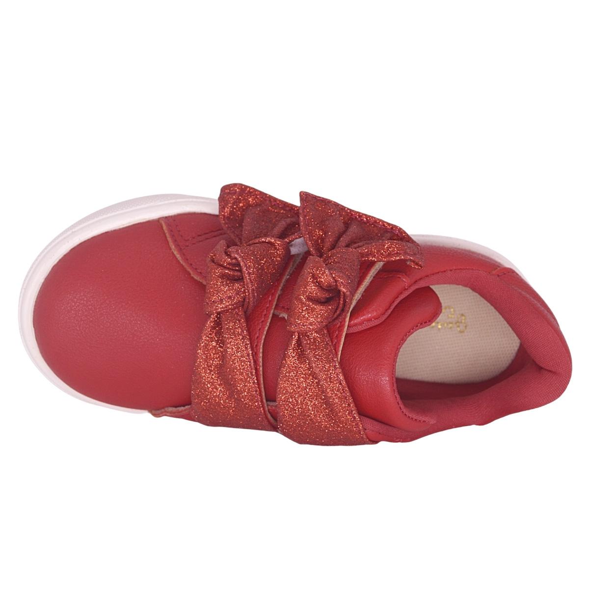 Tenis infantil vermelho com brilho